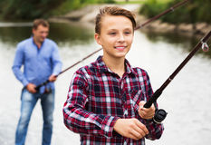 Teenage boy fishing Royalty Free Stock Images