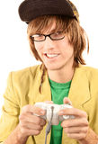 Teenage boy with game controller Stock Images