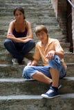 Teenage boy and girl. Outdoors stock image