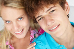 Teenage boy and girl Stock Photo