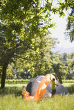 Teenage boy (14-16) and girl (8-10) assembling tent on camping trip in woodland clearing, side view Stock Photography