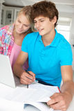 Teenage boy and girl doing homework Stock Photos