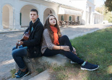 Teenage boy and girl guitar Stock Images