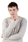 Teenage boy, half-lengh portrait stock photos