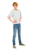 Teenage boy with hands on hips Stock Photos
