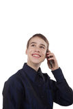 Teenage boy having fun talking on the phone Royalty Free Stock Photography