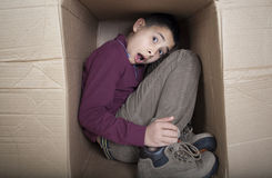 Teenage boy hiding in cardboard box Stock Image