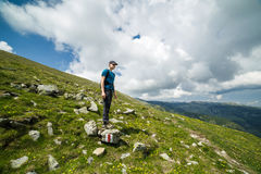 Teenage boy hiker on the mountains Stock Photography