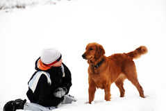 Teenage boy and his dog Royalty Free Stock Images