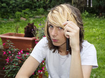 Teen Boy with Electronic Cigarette Stock Images