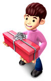 Teenage boy holding gift box long Stock Images