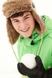 Teenage Boy Holding Snowball Wearing Fur Hat Royalty Free Stock Image