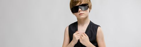 Teenage Boy In Fashionable Clothes And Glasses Stock Photos