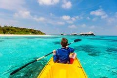 Teenage boy kayaking Royalty Free Stock Image