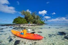 Teenage boy kayaking Royalty Free Stock Photos