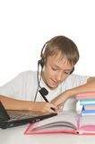 Teenage boy with laptop Royalty Free Stock Photography