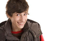 Teenage boy laughing Stock Photo