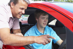 Teenage Boy Learning How To Drive royalty free stock photos