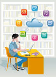 Teenage Boy In A Library. A teenage boy sitting in a public library at the laptop computer. Above is a cloud and a set of internet icons. He is studying helped Stock Photos