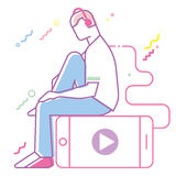 Teenage boy listening to music. Line art style Royalty Free Stock Images