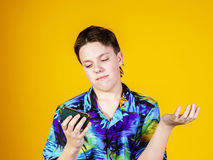 Teenage boy with opera binocular close-up portrait Royalty Free Stock Photography
