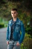 Teenage boy outdoor Stock Photo
