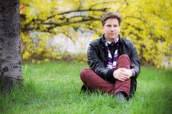 Teenage boy outdoors. Teenage handsome boy countryside outdoors royalty free stock photo