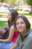 Teenage boy in the park Royalty Free Stock Photography