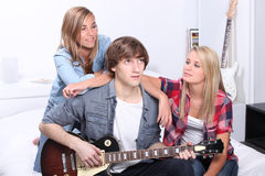Teenage boy playing electric guitar Royalty Free Stock Images