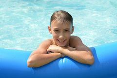 Teenage boy at pool Royalty Free Stock Photography