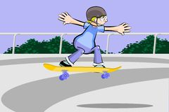Teenage boy practicing extreme skateboarding in the city Royalty Free Stock Images
