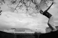 Teenage boy practicing free running Royalty Free Stock Image