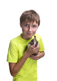 Teenage boy with a rabbit in her arms. Isolated on white background royalty free stock photo