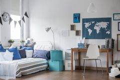 Teenage boy room design. Horizontal view of designed teenage boy room Royalty Free Stock Photo