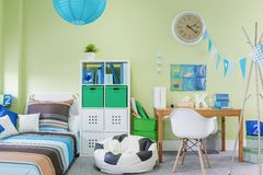 Teenage boy room interior. Picture of teenage boy room interior with stylish furniture Stock Photos