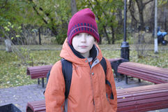 The teenage boy's portrait in autumn park. Royalty Free Stock Image