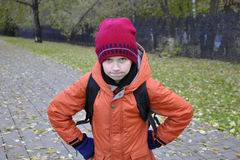 The teenage boy's portrait in autumn park. Stock Image