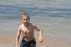 Teenage boy in the sea Royalty Free Stock Images
