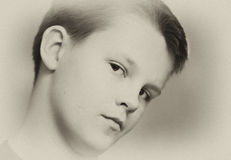 Teenage boy in sepia portrait Royalty Free Stock Photos