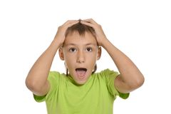 Teenage boy shouting Stock Image