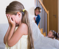 Teenage boy with sisters playing hide-and-go-seek Royalty Free Stock Image