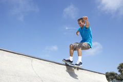 Teenage Boy In Skateboard Park Royalty Free Stock Photos
