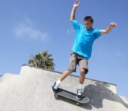 Teenage Boy In Skateboard Park Royalty Free Stock Photo