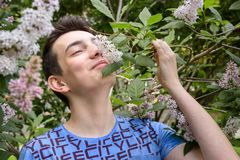 Teenage boy smelling lilac flowers in the park stock images