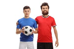 Teenage boy and a soccer coach royalty free stock photos