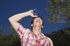 Teenage Boy Spilling Water On Face Royalty Free Stock Photos