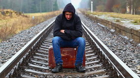 Teenage boy with a suitcase Stock Image