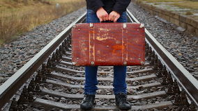 Teenage boy with a suitcase Stock Photography