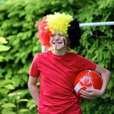Teenage boy supporting Belgian football team Royalty Free Stock Images