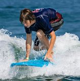 Teenage Boy Surfing stock photo